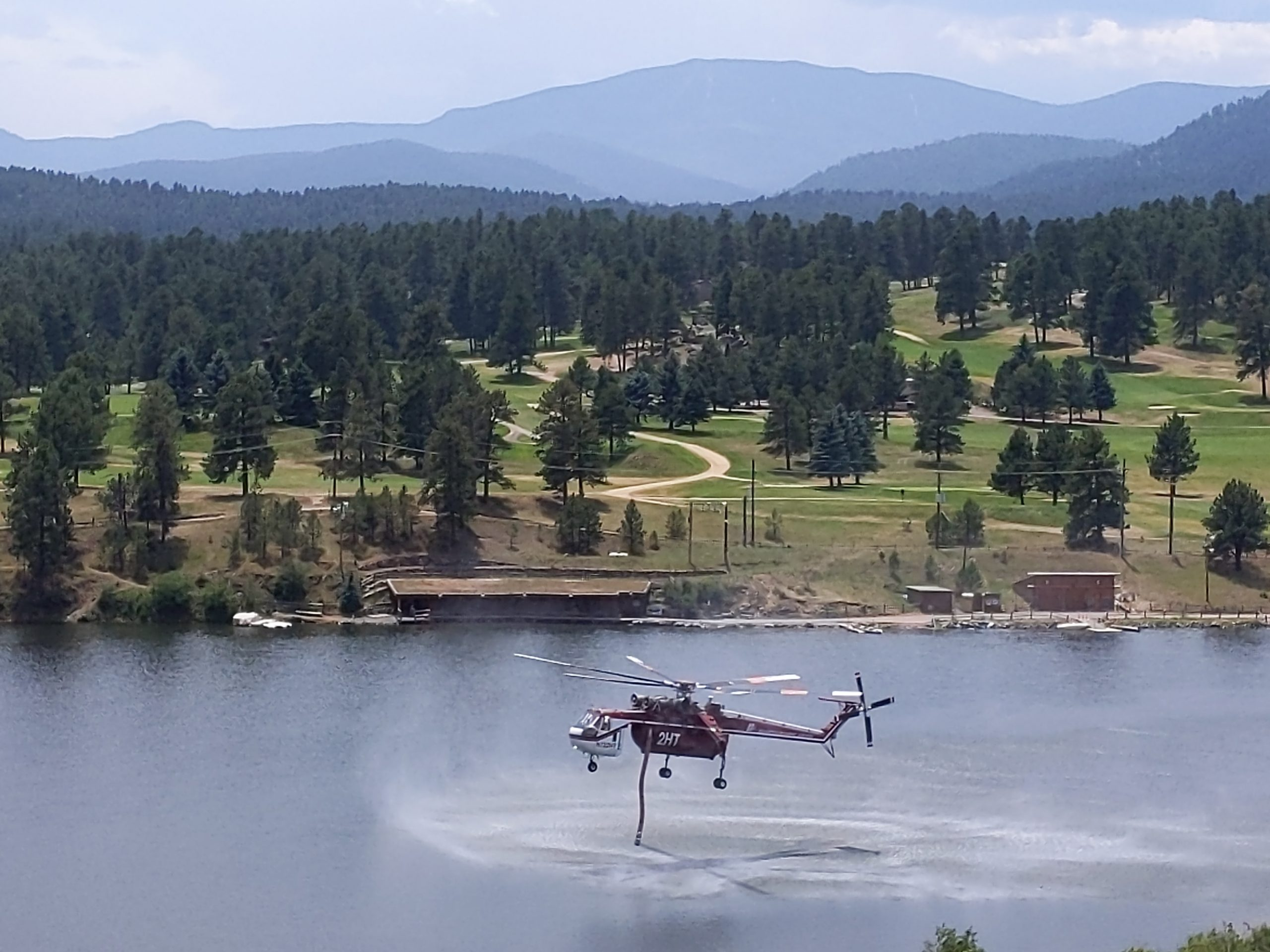 fire helicopter at Evergreen Lake