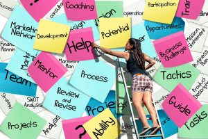 Woman on ladder in front of wall of post-its with notes like Help, Development, Opportunities, Guide, Ability, Mentor