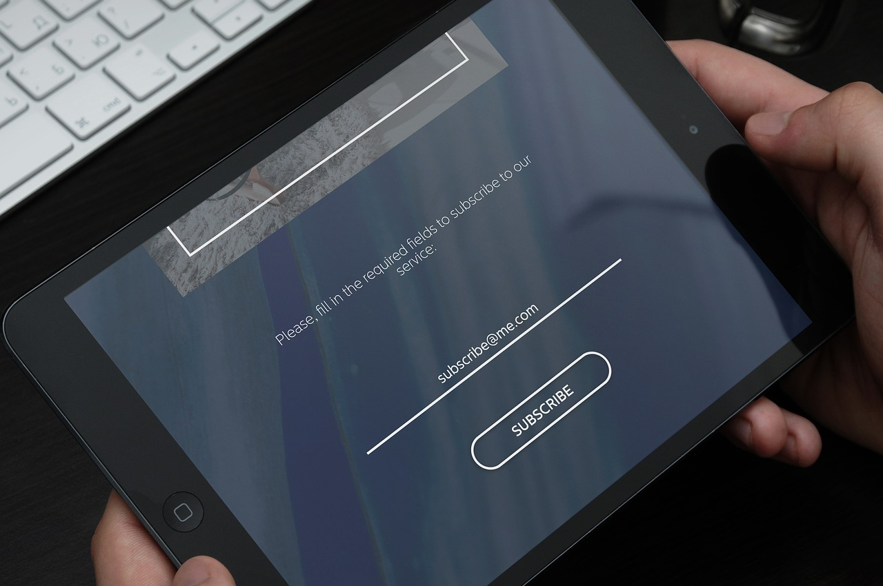 Ipad showing a subscription signup form